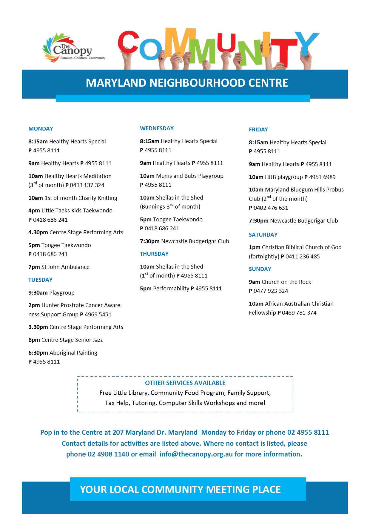 Maryland Neighbourhood Centre Activities - May 2017