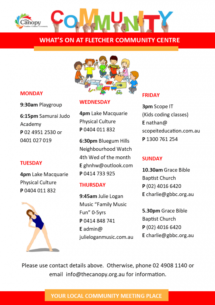 Fletcher Community Centre Activities Flyer - Aug 2017