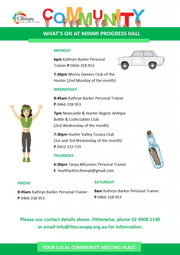 Minmi Progress Hall Activities Flyer_Aug 2017